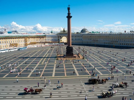 Alexander Column on Palace Square in St. Petersburg. Top view.